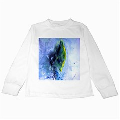 Bright Yellow And Blue Abstract Kids Long Sleeve T Shirts