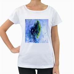 Bright Yellow and Blue Abstract Women s Loose-Fit T-Shirt (White)