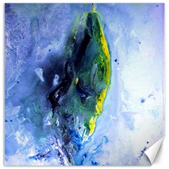 Bright Yellow And Blue Abstract Canvas 16  X 16