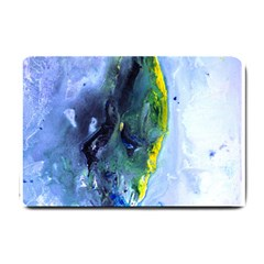 Bright Yellow And Blue Abstract Small Doormat