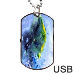 Bright Yellow and Blue Abstract Dog Tag USB Flash (One Side)