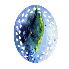 Bright Yellow And Blue Abstract Oval Filigree Ornament (2 Side)