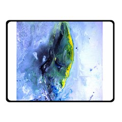 Bright Yellow And Blue Abstract Double Sided Fleece Blanket (small)