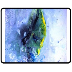 Bright Yellow and Blue Abstract Double Sided Fleece Blanket (Medium)