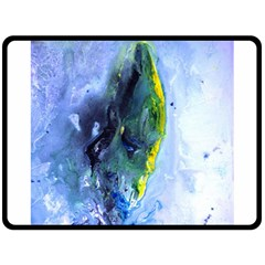 Bright Yellow and Blue Abstract Double Sided Fleece Blanket (Large)