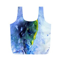 Bright Yellow and Blue Abstract Full Print Recycle Bags (M)