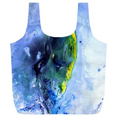 Bright Yellow And Blue Abstract Full Print Recycle Bags (l)