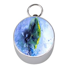Bright Yellow and Blue Abstract Mini Silver Compasses