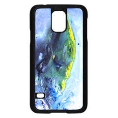 Bright Yellow and Blue Abstract Samsung Galaxy S5 Case (Black)
