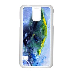 Bright Yellow and Blue Abstract Samsung Galaxy S5 Case (White)