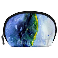 Bright Yellow And Blue Abstract Accessory Pouches (large)