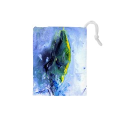 Bright Yellow and Blue Abstract Drawstring Pouches (Small)
