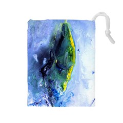 Bright Yellow And Blue Abstract Drawstring Pouches (large)