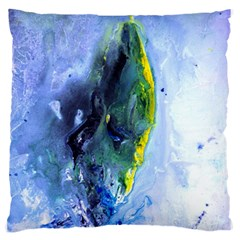 Bright Yellow And Blue Abstract Large Flano Cushion Cases (two Sides)