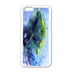 Bright Yellow and Blue Abstract Apple iPhone 6 White Enamel Case