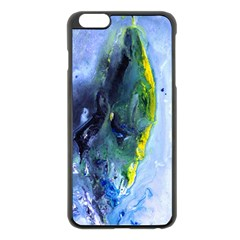 Bright Yellow And Blue Abstract Apple Iphone 6 Plus Black Enamel Case
