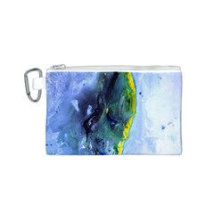 Bright Yellow and Blue Abstract Canvas Cosmetic Bag (S)