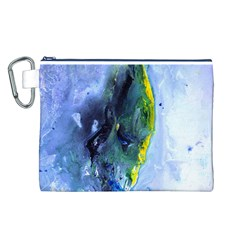Bright Yellow and Blue Abstract Canvas Cosmetic Bag (L)