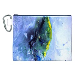 Bright Yellow and Blue Abstract Canvas Cosmetic Bag (XXL)