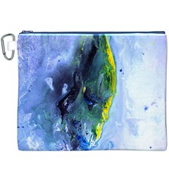 Bright Yellow and Blue Abstract Canvas Cosmetic Bag (XXXL)