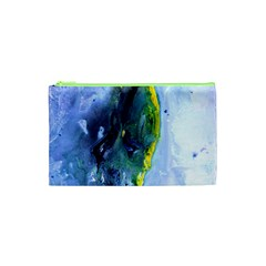 Bright Yellow and Blue Abstract Cosmetic Bag (XS)
