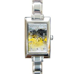 Bright Yellow Abstract Rectangle Italian Charm Watches