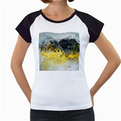 Bright Yellow Abstract Women s Cap Sleeve T