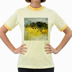 Bright Yellow Abstract Women s Fitted Ringer T Shirts