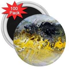 Bright Yellow Abstract 3  Magnets (100 Pack)