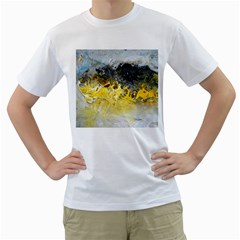 Bright Yellow Abstract Men s T-Shirt (White) (Two Sided)