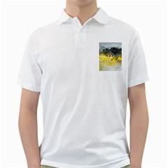 Bright Yellow Abstract Golf Shirts