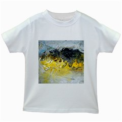 Bright Yellow Abstract Kids White T-Shirts