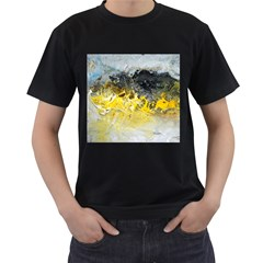 Bright Yellow Abstract Men s T-Shirt (Black) (Two Sided)