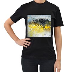Bright Yellow Abstract Women s T-Shirt (Black) (Two Sided)