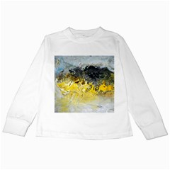 Bright Yellow Abstract Kids Long Sleeve T-Shirts