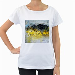 Bright Yellow Abstract Women s Loose-Fit T-Shirt (White)