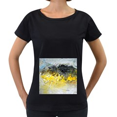 Bright Yellow Abstract Women s Loose-Fit T-Shirt (Black)