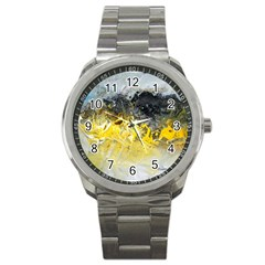 Bright Yellow Abstract Sport Metal Watches