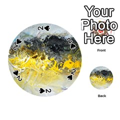 Bright Yellow Abstract Playing Cards 54 (Round)