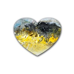 Bright Yellow Abstract Rubber Coaster (heart)