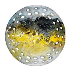 Bright Yellow Abstract Round Filigree Ornament (2side)
