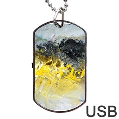 Bright Yellow Abstract Dog Tag Usb Flash (one Side)