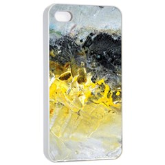 Bright Yellow Abstract Apple iPhone 4/4s Seamless Case (White)