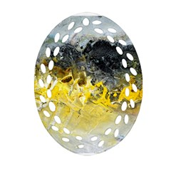 Bright Yellow Abstract Oval Filigree Ornament (2-Side)