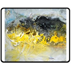 Bright Yellow Abstract Double Sided Fleece Blanket (medium)