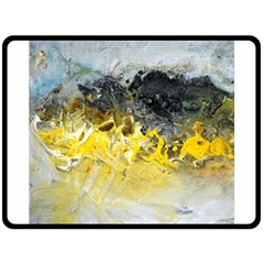 Bright Yellow Abstract Double Sided Fleece Blanket (large)