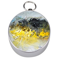 Bright Yellow Abstract Silver Compasses