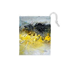 Bright Yellow Abstract Drawstring Pouches (small)