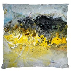 Bright Yellow Abstract Large Flano Cushion Cases (One Side)