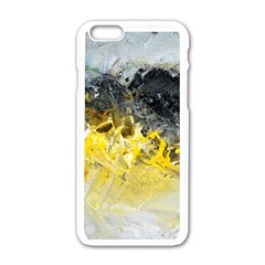 Bright Yellow Abstract Apple Iphone 6 White Enamel Case
